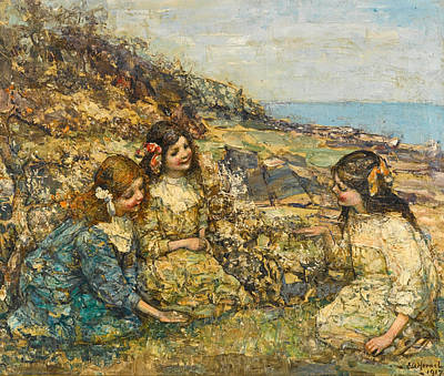 Edward Atkinson Hornel Painting - Blowing The Dandelion by Edward Atkinson Hornel