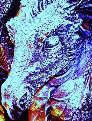 Blue-dragon Print by Ramon Labusch