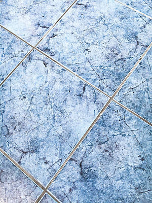 Blue Floor Tiles Print by Tom Gowanlock
