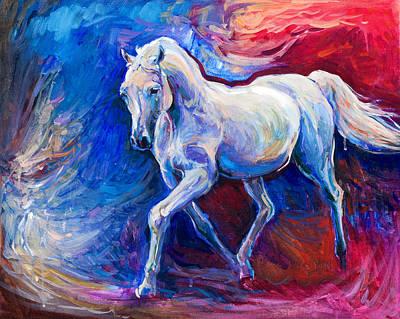 Textured Horse Art Drawing - Blue Horse by Boyan Dimitrov