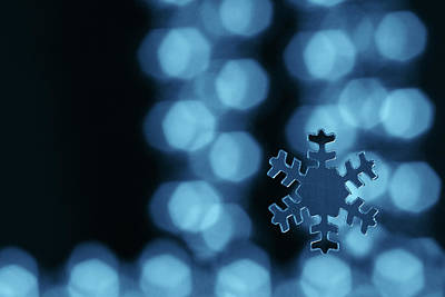 Christmas Photograph - Blue Snowflake by Jouko Mikkola