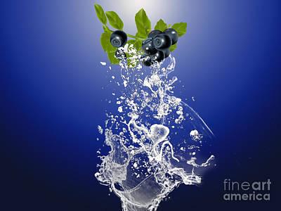 Fruits Mixed Media - Blueberry Splash by Marvin Blaine