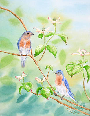 Bluebirds In Dogwood Tree Print by Kathryn Duncan