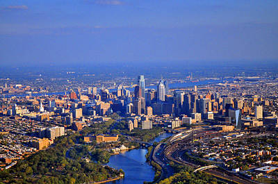 1 Boathouse Row Philadelphia Pa Skyline Aerial Photograph Print by Duncan Pearson