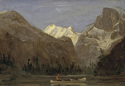 Half Dome Painting - Boating Through Yosemite Valley With Half Dome In The Distance by Celestial Images