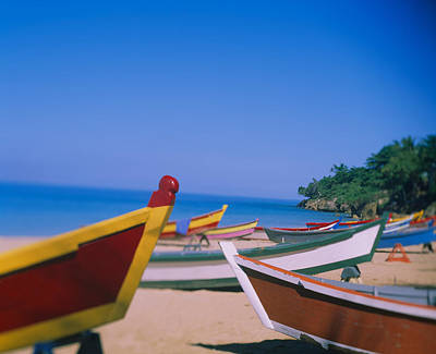 Boats On The Beach, Aguadilla, Puerto Print by Panoramic Images