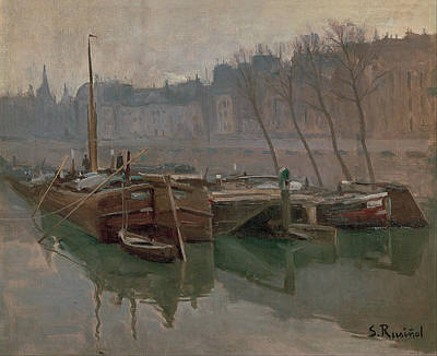 Boating On The Seine Painting - Boats On The Seine by MotionAge Designs