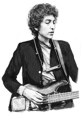 Bob Dylan Drawing - Bob Dylan Drawing Art Poster by Kim Wang