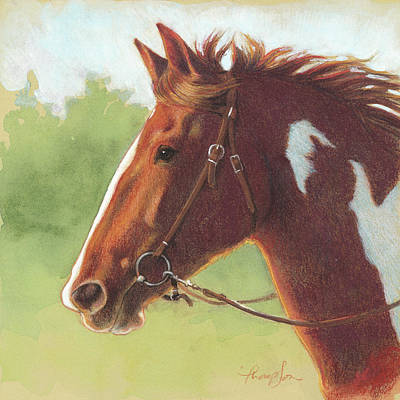 Chestnut Horse Painting - Bold Paint Horse by Tracie Thompson