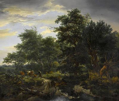 Riverside Painting - Bosgezicht by Jacob van Ruisdael