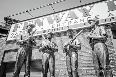 Red Sox Photograph - Boston Fenway Park Sign And Four Bronze Statues by Paul Velgos