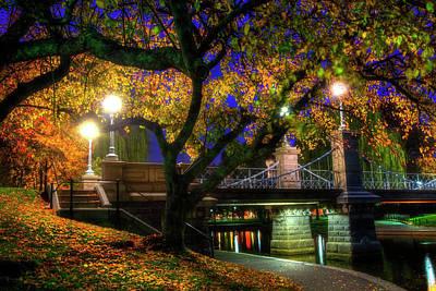 Boston Public Garden Lagoon Bridge In Autumn Print by Joann Vitali