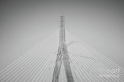 Zakim Photograph - Boston Zakim Bridge Black And White Photo by Paul Velgos