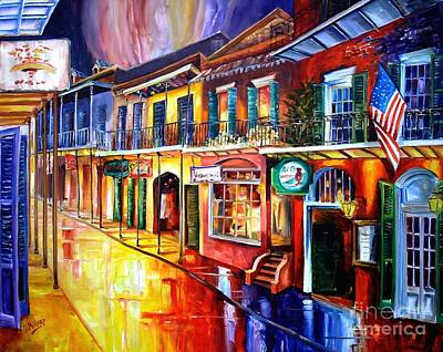 Louisiana Art Painting - Bourbon Street Red by Diane Millsap