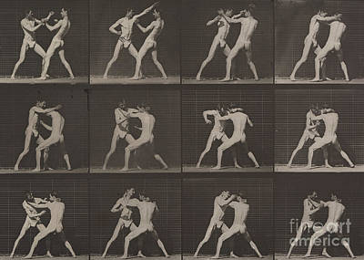 Black And White Nude Couple Photograph - Boxing by Eadweard Muybridge