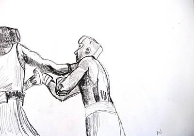 Punching Drawing - Boxing by Luxmi Benjamin