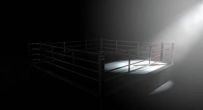Fight Digital Art - Boxing Ring Corner Lit by Allan Swart