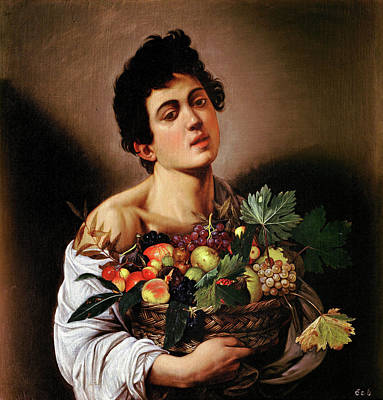 Basket Painting - Boy With A Basket Of Fruit by Caravaggio