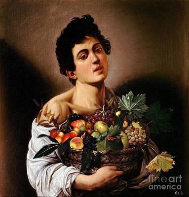 Boy With A Basket Of Fruit Print by Celestial Images