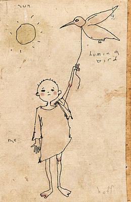 Hummingbird Drawing - Boy With Bird by H James Hoff