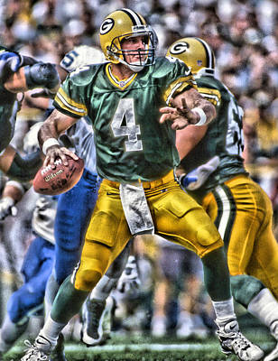 Green Bay Painting - Brett Favre Green Bay Packers by Joe Hamilton