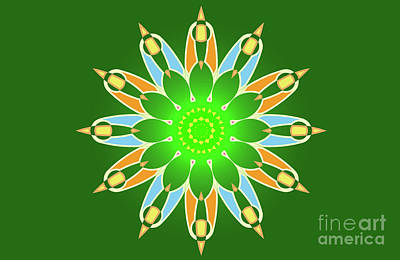 Abstracto Digital Art - Bright Abstract Mandala On Green Background by Pablo Franchi