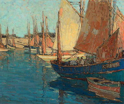 Edgar Payne Painting - Brittany Boats by Celestial Images