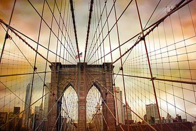 Brooklyn Bridge Digital Art - Brooklyn Bridge Approach by Jessica Jenney