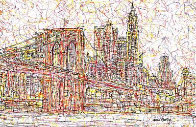 Greenwich Village Drawing - Brooklyn Bridge by Brian Keating
