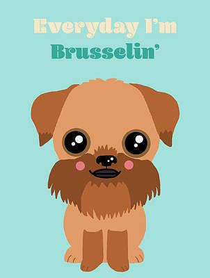 Griffon Digital Art - Brussels Griffon by Nicole Wilson