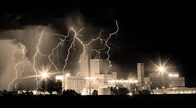 Budweiser Lightning Thunderstorm Moving Out Bw Sepia Panorama Print by James BO  Insogna