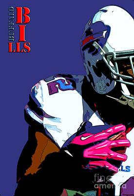 Buffalo Bills Football Team And Original Typography Print by Pablo Franchi