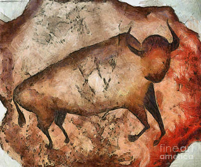 Bison Mixed Media - Bull A La Altamira by Michal Boubin