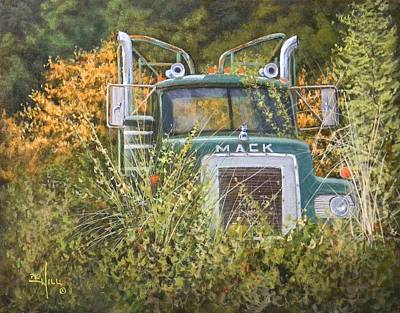 Logging Painting - Bulldog In The Bushes by Paul K Hill