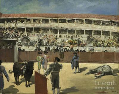 Stadium Crowd Painting - Bullfight by Edouard Manet