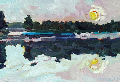 Buzzard Painting - A New Dawn On Buzzard Lake by Phil Chadwick