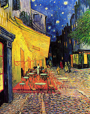 Cafe Terrace Place Du Forum At Night Print by Vincent Van Gogh