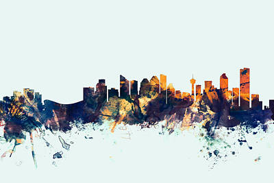 Alberta Digital Art - Calgary Canada Skyline by Michael Tompsett