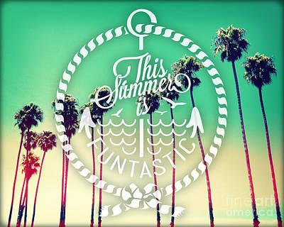 Beach Landscape Mixed Media - California Palms II by Chris Andruskiewicz