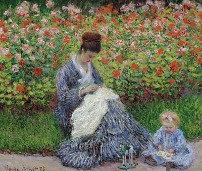 Children Painting - Camille Monet And A Child In The Garden At Argenteuil by Claude Monet