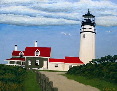 Historic Lighthouse Images Painting - Cape Cod Highland Lighthouse  by Frederic Kohli