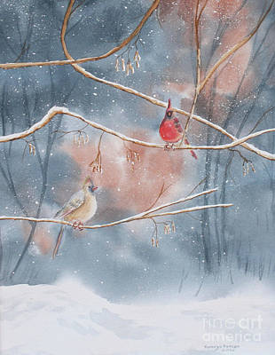 Cardinals In Winter Print by Kathryn Duncan