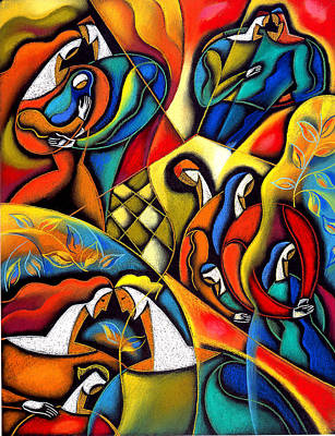 Women Together Painting - Caring Family by Leon Zernitsky