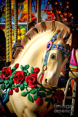 Antique Carousel Photograph - Carousel Horse  by Olivier Le Queinec