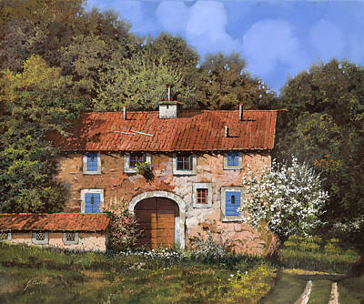 Roofs Painting - Casolare A Primavera by Guido Borelli