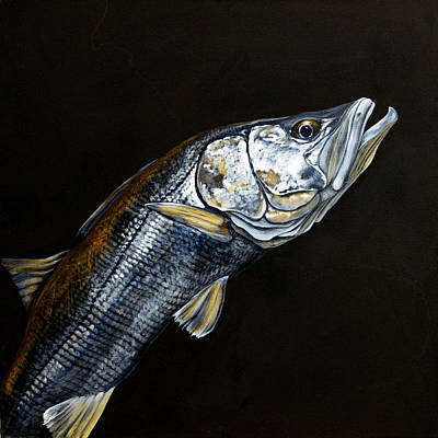 Caught In The Surf Snook Print by Joan Garcia