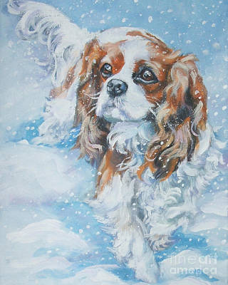 Cavalier King Charles Spaniel Blenheim In Snow Print by Lee Ann Shepard