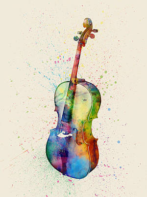 Cello Abstract Watercolor Print by Michael Tompsett