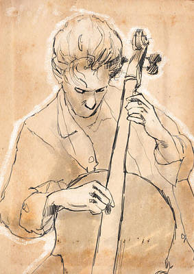 Cello Player Print by H James Hoff