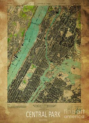 Maps Digital Art - Central Park 1947 by Pablo Franchi
